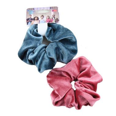 #LikeMe - Fuchsia & Ijsblauwe Scrunchie (set)